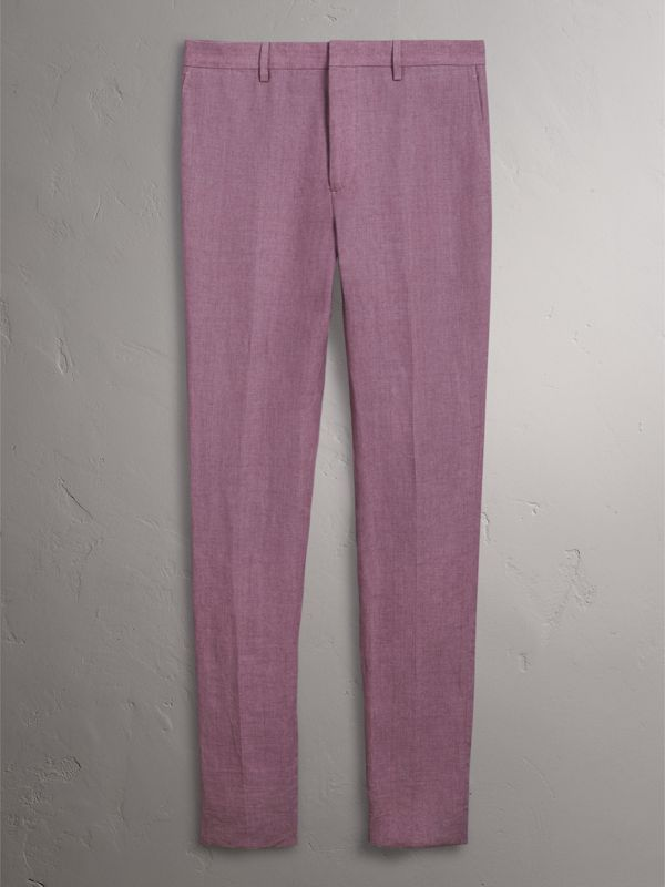 Soho Fit Linen Trousers in Pink Heather - Men | Burberry - cell image 3