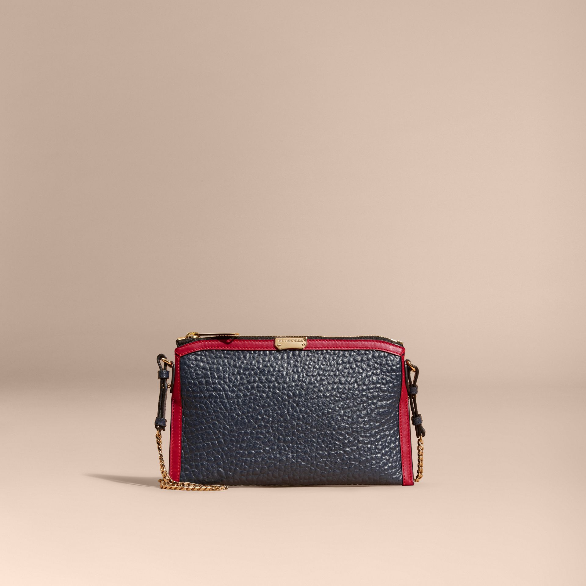 Blue crbn/parade red Contrast Border Signature Grain Leather Clutch Bag - gallery image 9