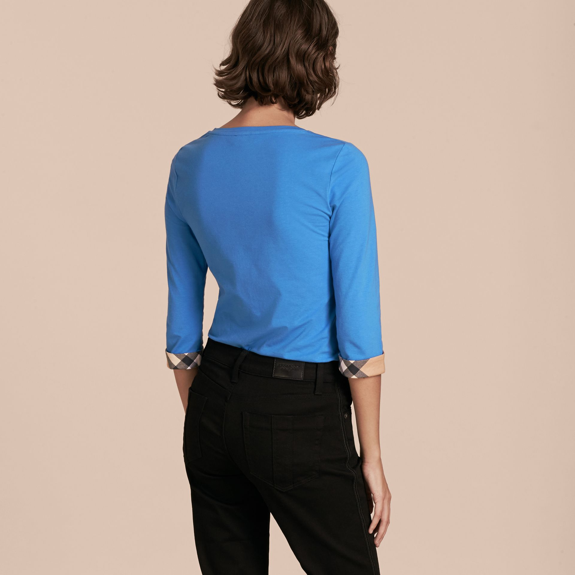 Three-quarter Sleeved Stretch Cotton T-shirt with Check Trim in Bright Hydrangea Blue - gallery image 3