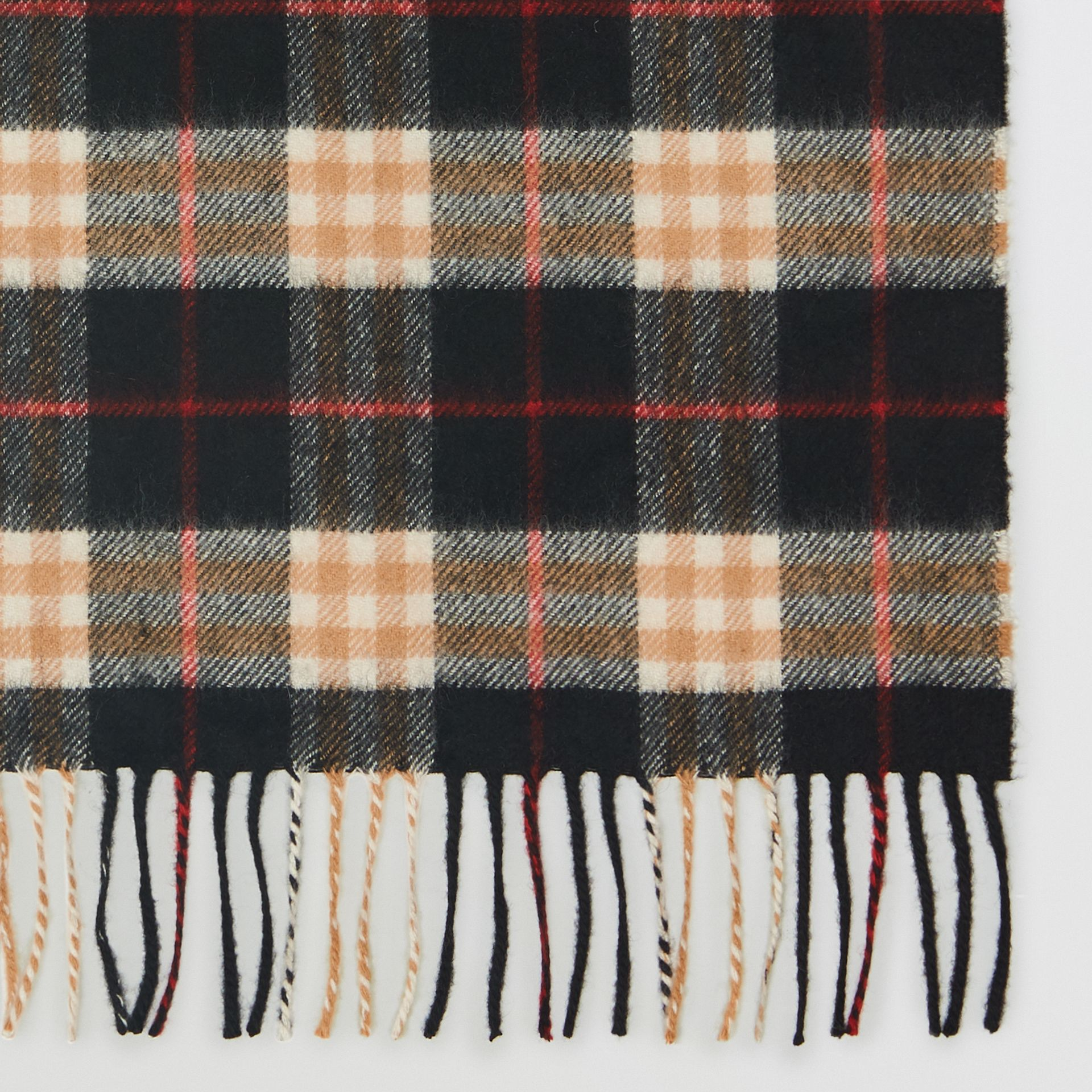 Check Cashmere Scarf in Black | Burberry United Kingdom - gallery image 1