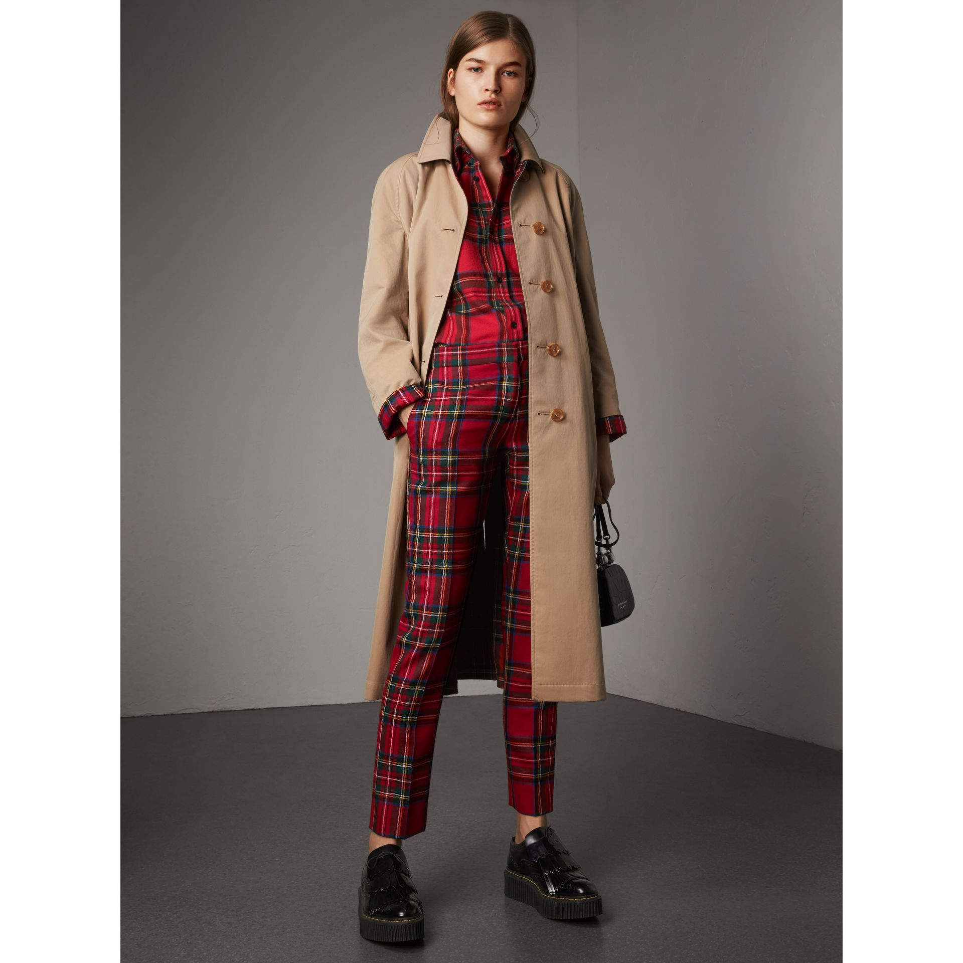 Reversible Gabardine and Tartan Wool Car Coat in Honey - Women | Burberry Australia - gallery image 1