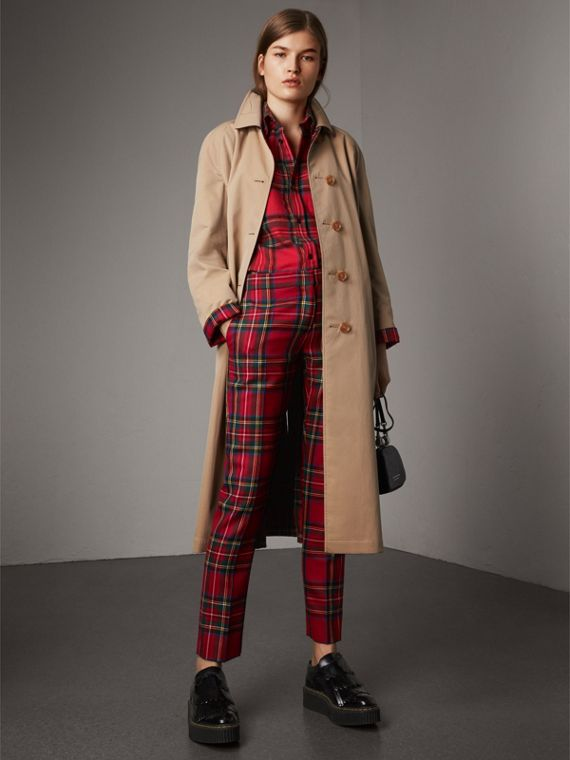 Cappotto car coat double face in gabardine e lana con motivo tartan (Miele)