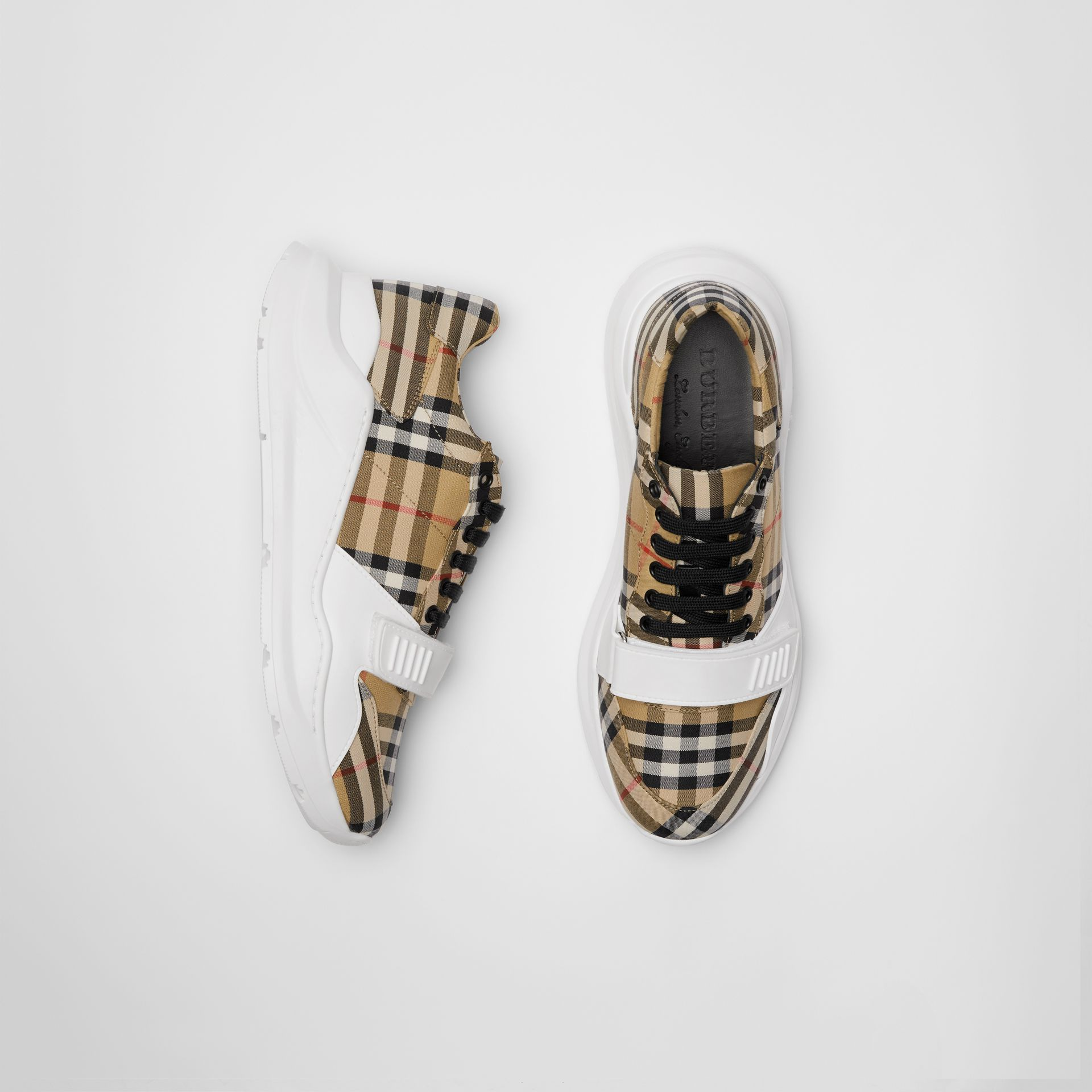 Vintage Check Cotton Sneakers in Antique Yellow - Men | Burberry Australia - gallery image 0