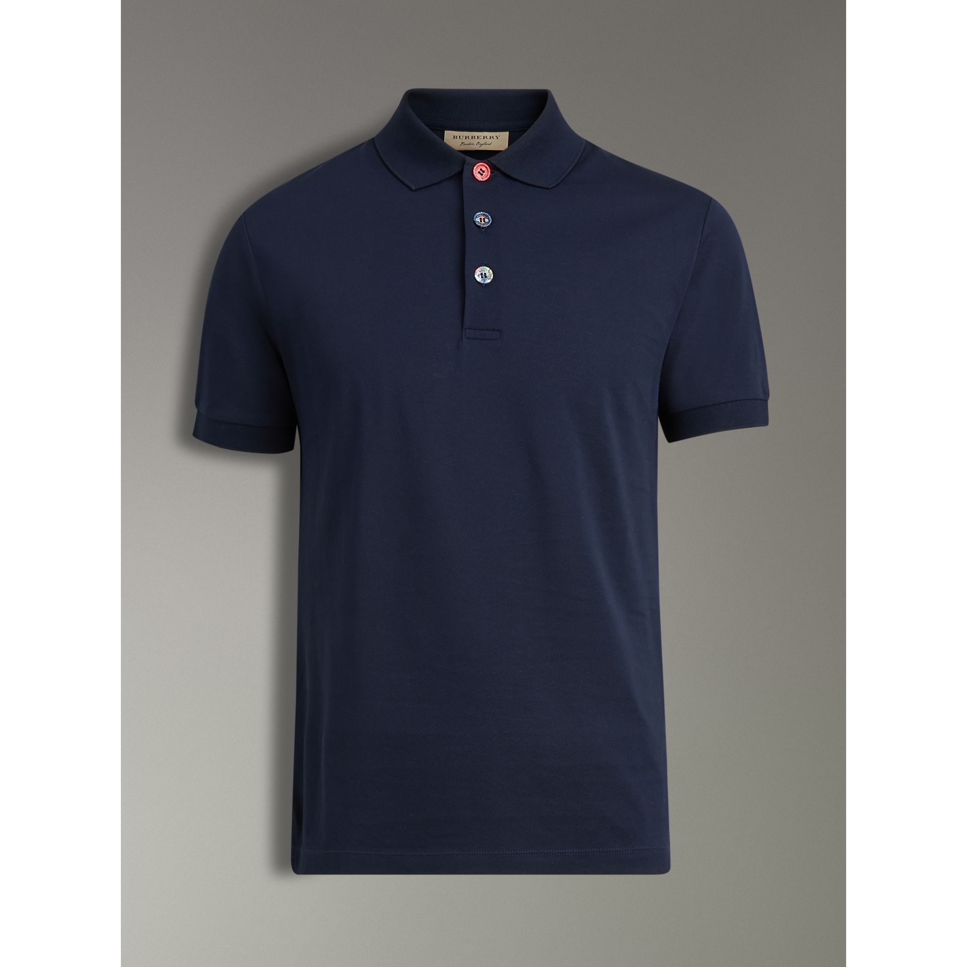 Painted Button Cotton Piqué Polo Shirt in Navy - Men | Burberry Australia - gallery image 3
