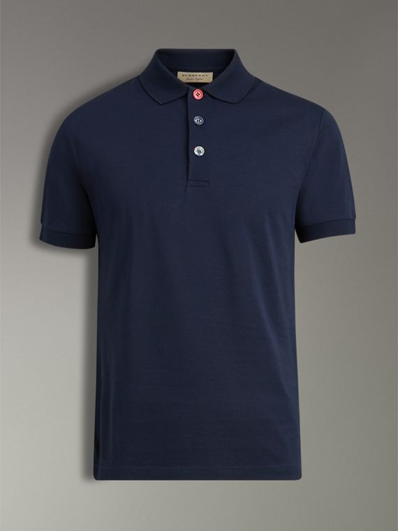 Painted Button Cotton Piqué Polo Shirt in Navy - Men | Burberry - cell image 3