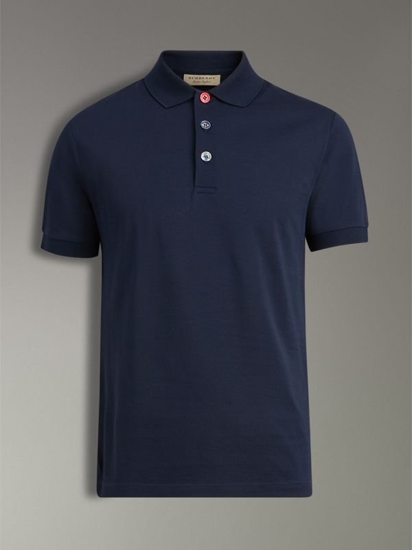 Painted Button Cotton Piqué Polo Shirt in Navy - Men | Burberry United Kingdom - cell image 3