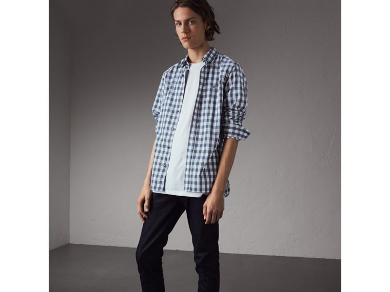 Button-down Collar Gingham Cotton Shirt in Mineral Blue - Men | Burberry Singapore - cell image 4