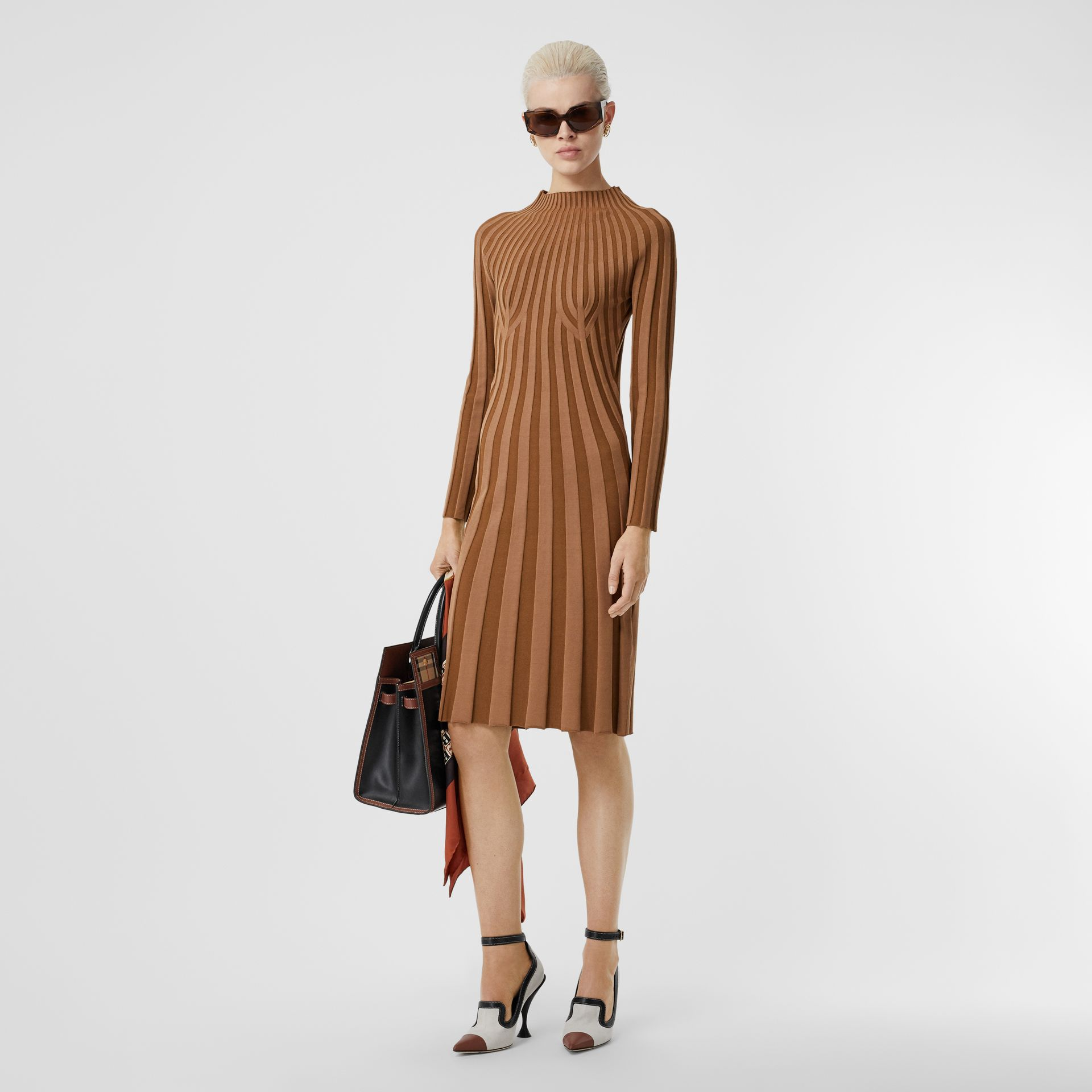Long-sleeve Rib Knit Stretch Silk Blend Dress in Truffle - Women | Burberry - gallery image 0