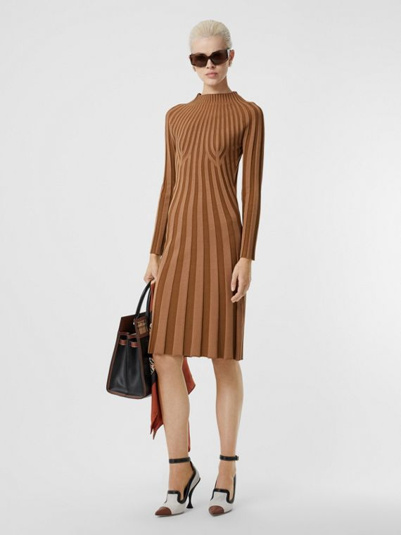 Long-sleeve Rib Knit Stretch Silk Blend Dress in Truffle