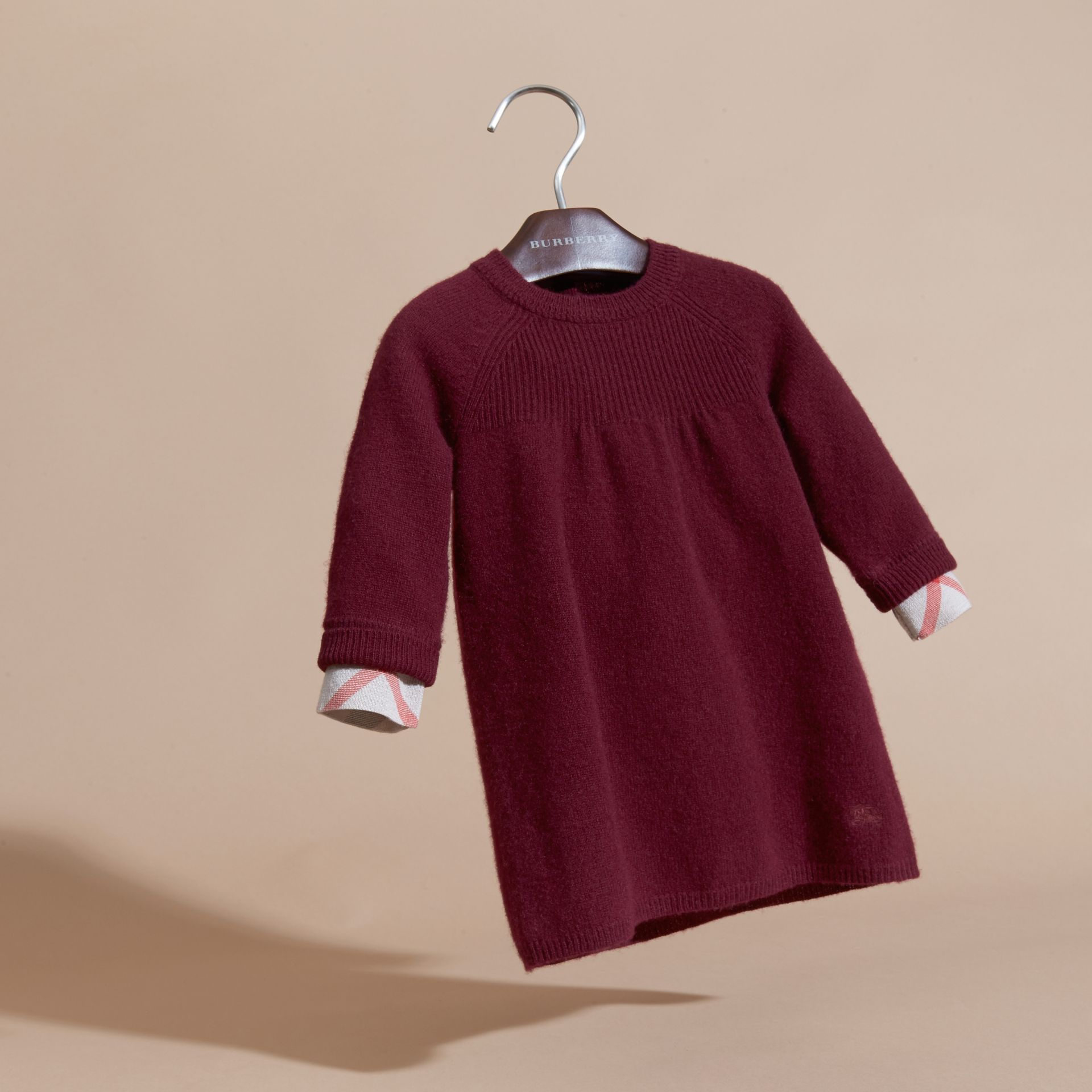 Check Cuff Knitted Cashmere Dress in Mahogany Red - gallery image 3