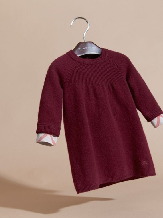Check Cuff Knitted Cashmere Dress in Mahogany Red - cell image 2