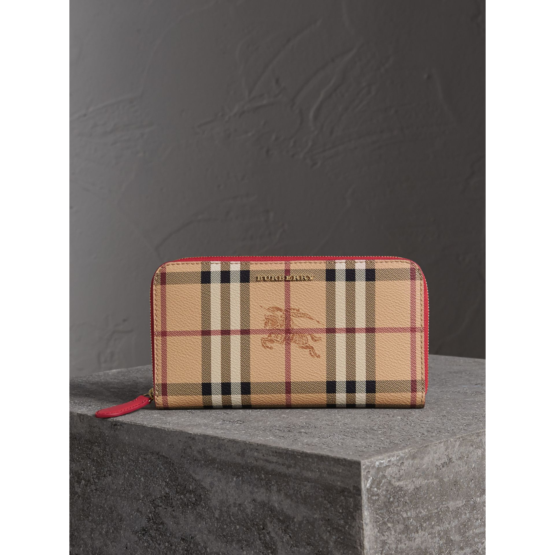 Haymarket Check and Leather Ziparound Wallet in Coral Red - Women | Burberry - gallery image 4