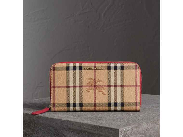 Haymarket Check and Leather Ziparound Wallet in Coral Red - Women | Burberry - cell image 4