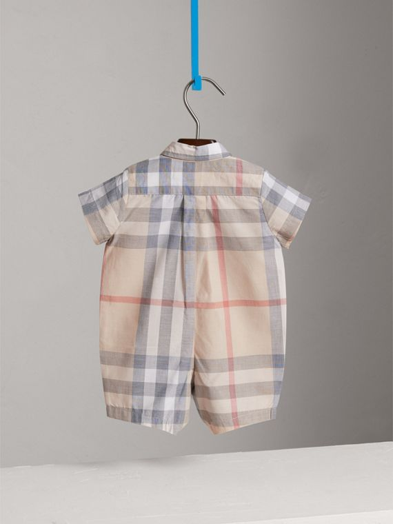Check Cotton Playsuit in Classic | Burberry - cell image 3