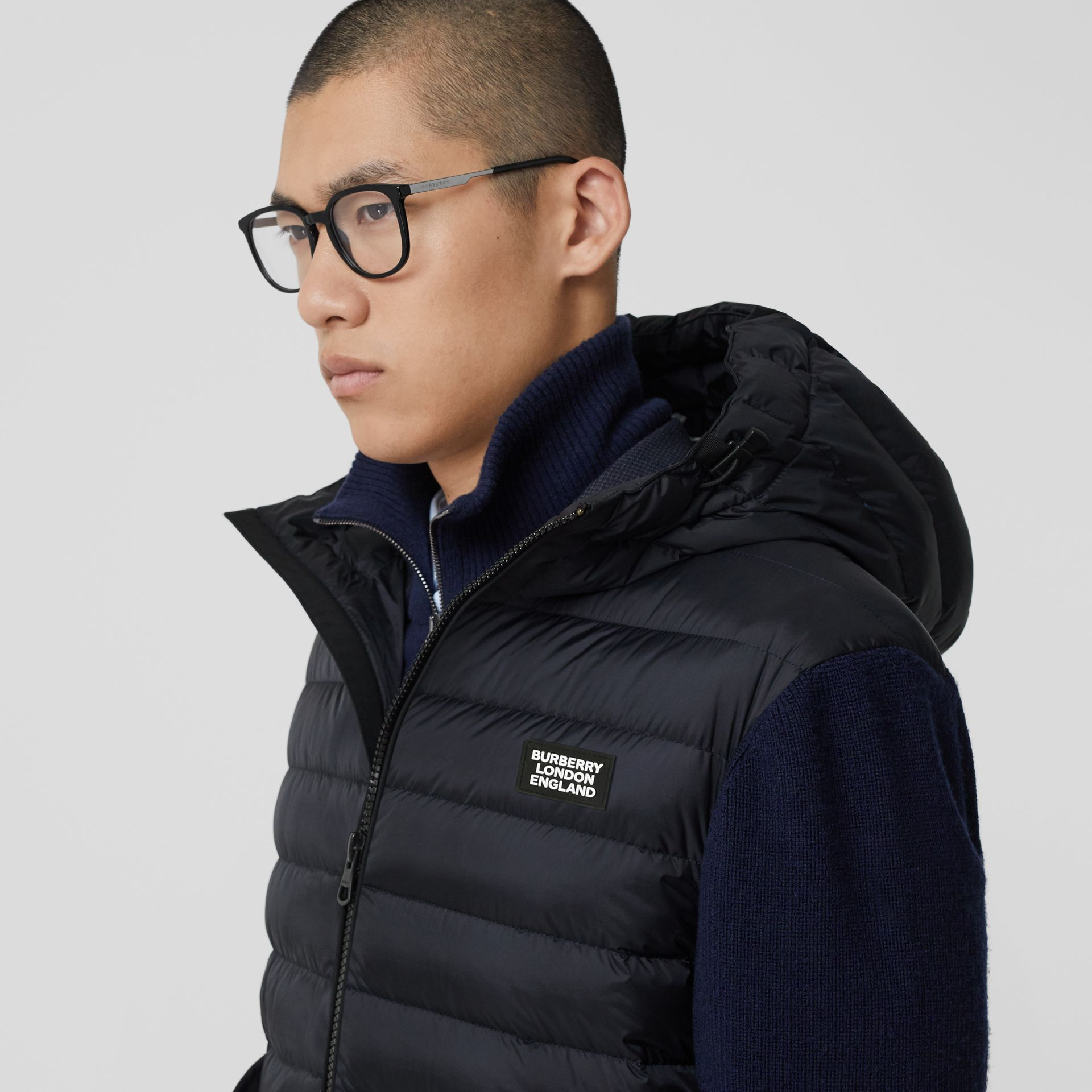 Puffer Detail Technical Knit Hooded Jacket in Navy - Men | Burberry - gallery image 1
