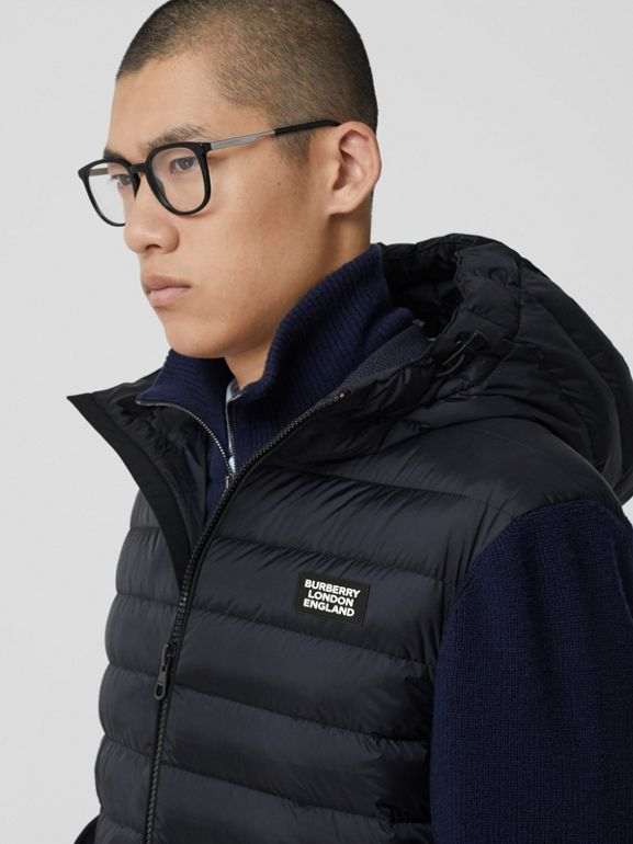 Puffer Detail Technical Knit Hooded Jacket in Navy - Men | Burberry - cell image 1