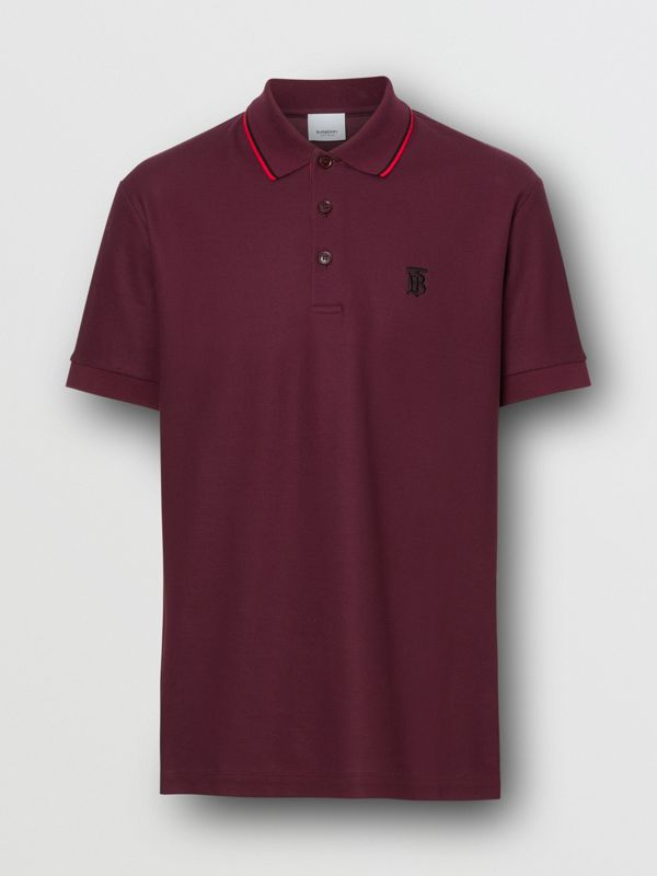 Monogram Motif Cotton Piqué Polo Shirt in Burgundy - Men | Burberry United Kingdom - cell image 3