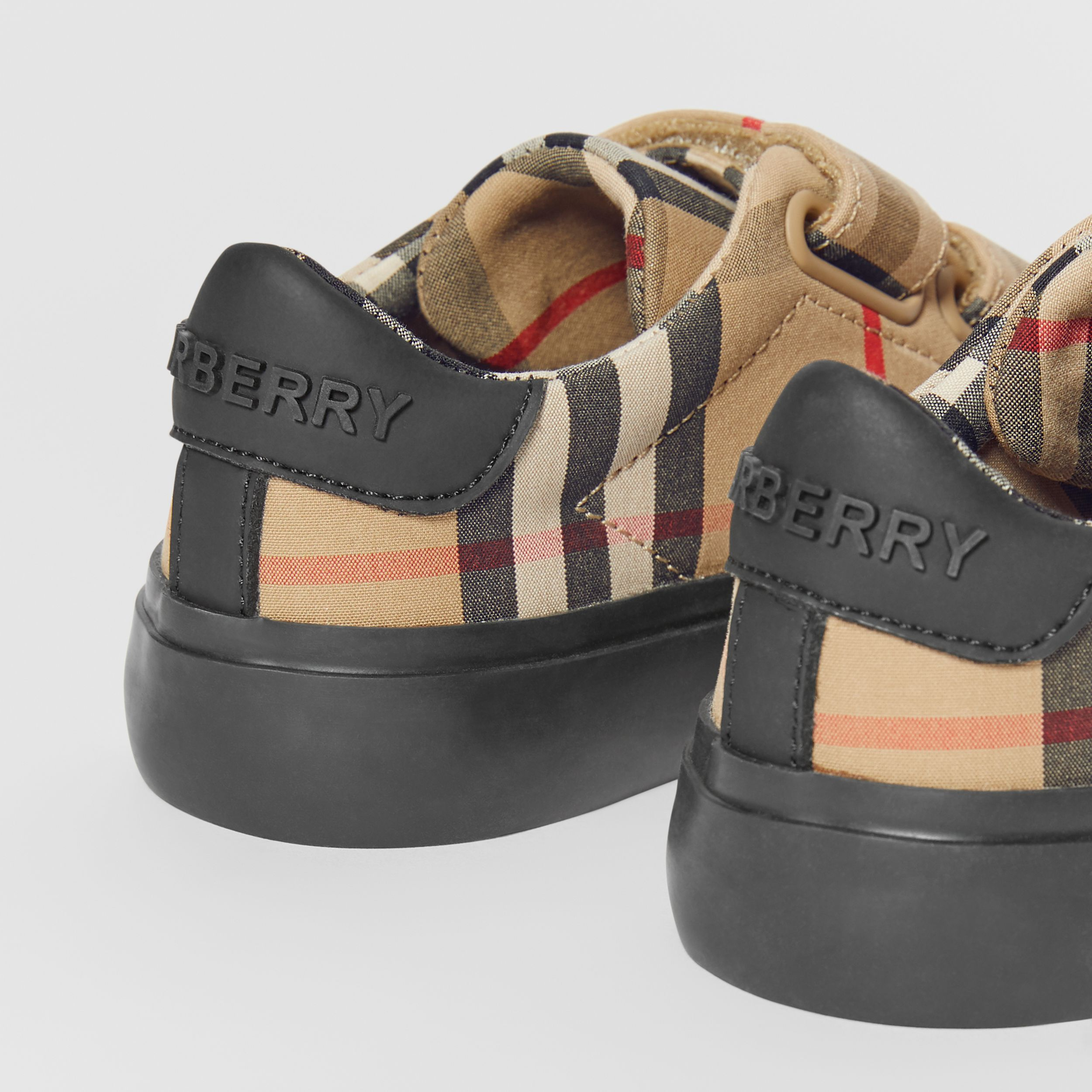 Vintage Check Cotton Sneakers in Archive Beige/black - Children | Burberry - 2