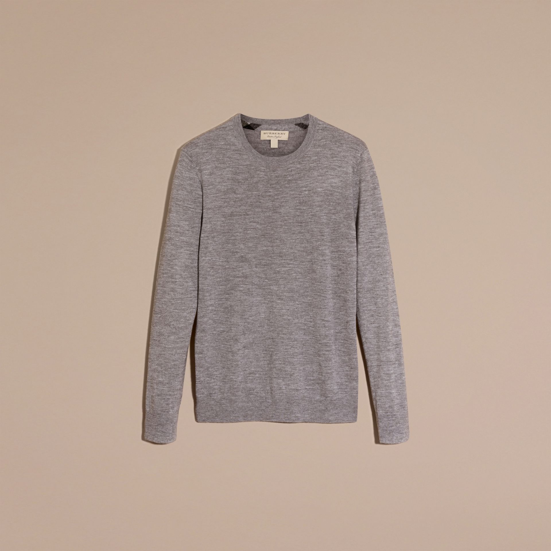 Lightweight Crew Neck Cashmere Sweater with Check Trim in Pale Grey Melange - gallery image 4
