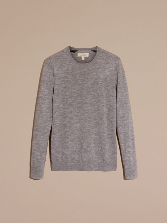 Lightweight Crew Neck Cashmere Sweater with Check Trim in Pale Grey Melange - cell image 3