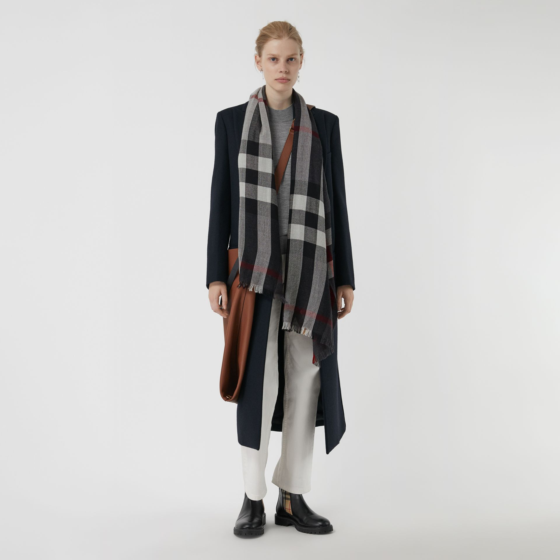 Lightweight Check Wool Cashmere Scarf in Charcoal | Burberry Australia - gallery image 2