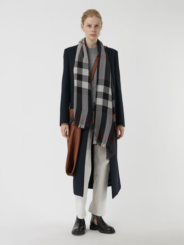 Lightweight Check Wool Cashmere Scarf in Charcoal | Burberry - cell image 2
