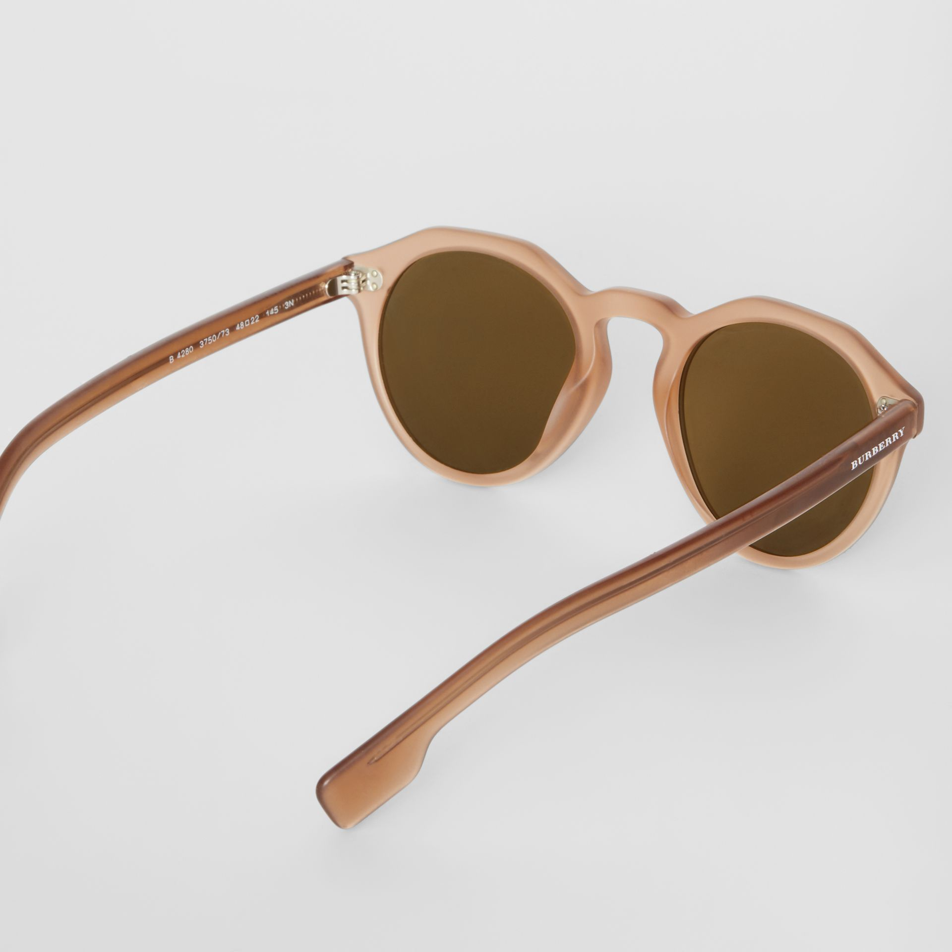 Keyhole Round Frame Sunglasses in Brown - Men | Burberry United States - gallery image 4