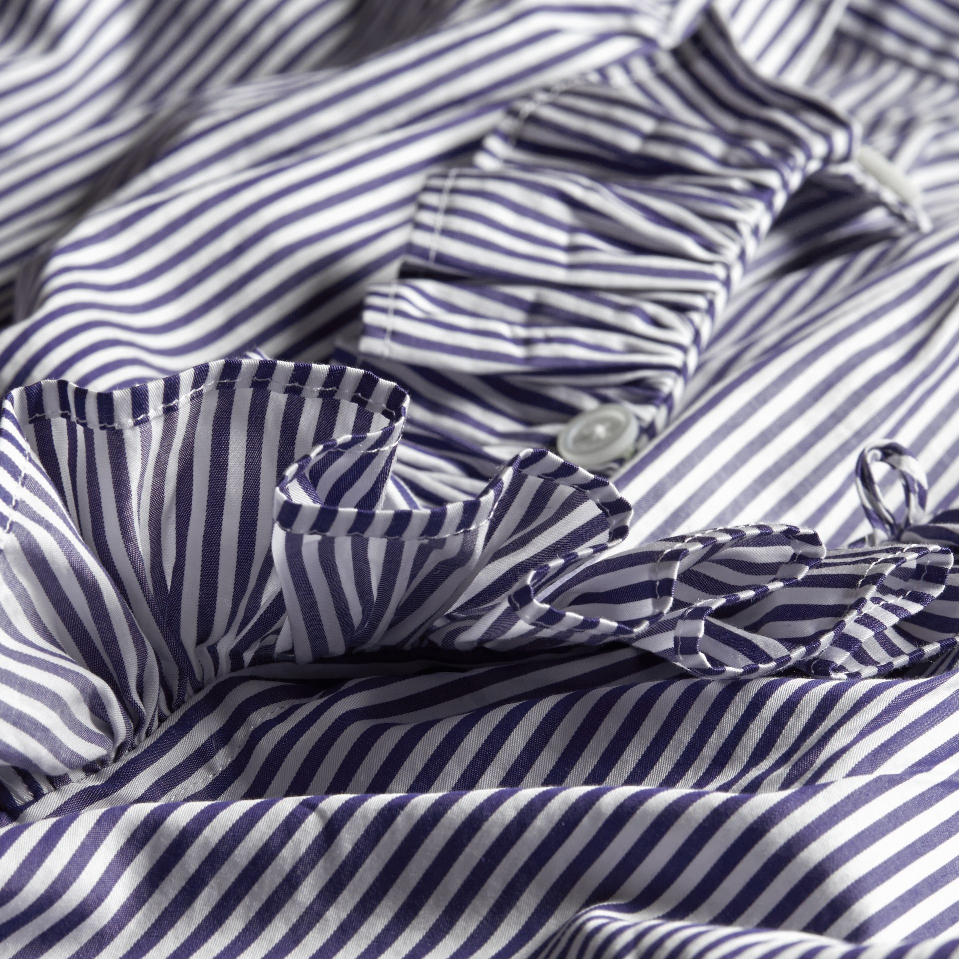 Mid indigo blue Ruffle Detail Striped Cotton Tunic - gallery image 2