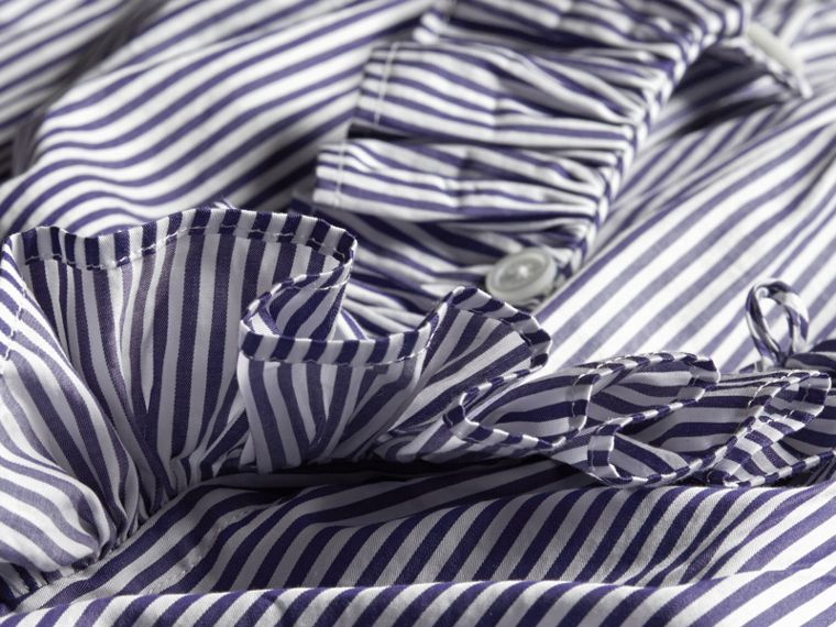 Mid indigo blue Ruffle Detail Striped Cotton Tunic - cell image 1