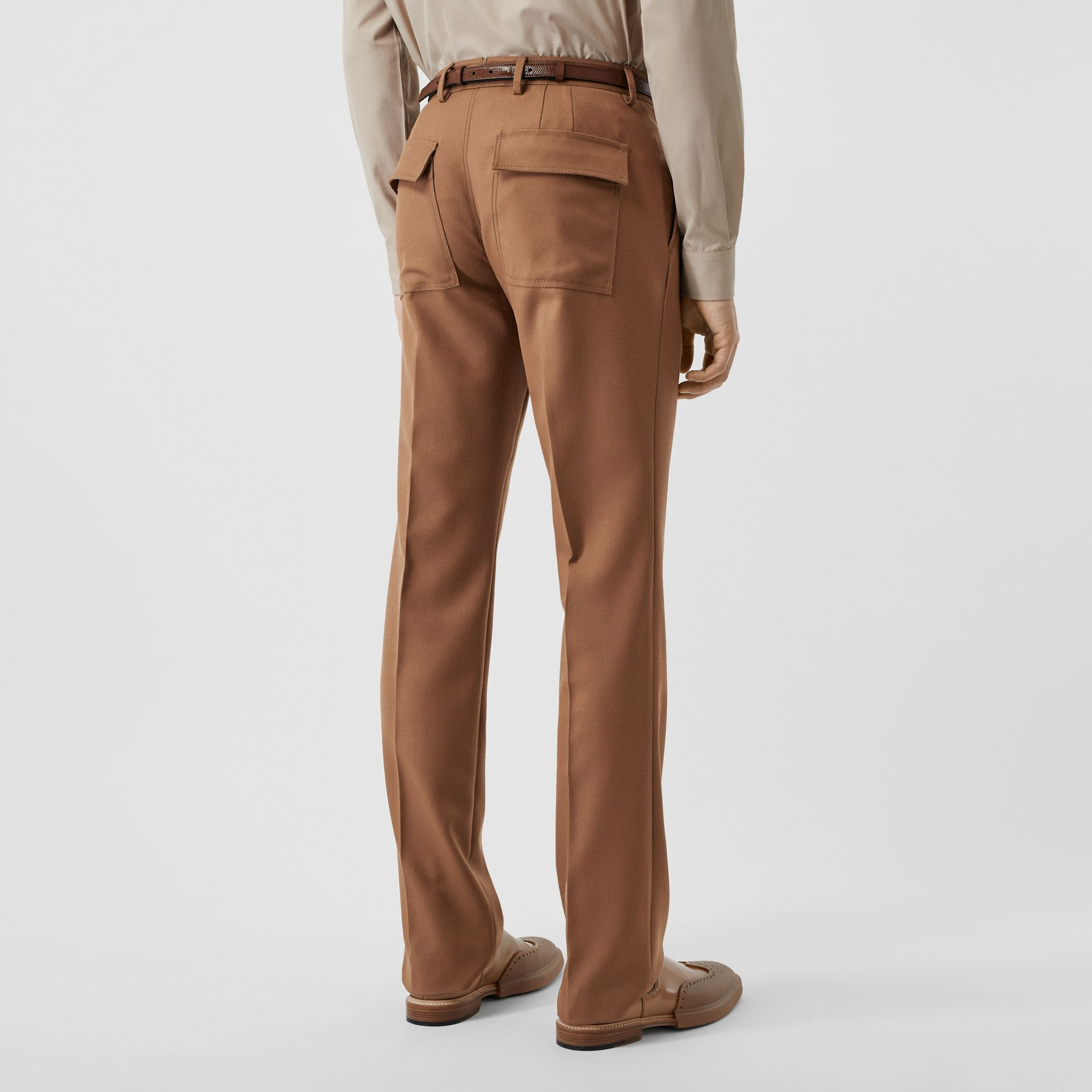 Zip Detail Wool Twill Pleated Trousers in Dark Walnut - Men | Burberry - gallery image 2
