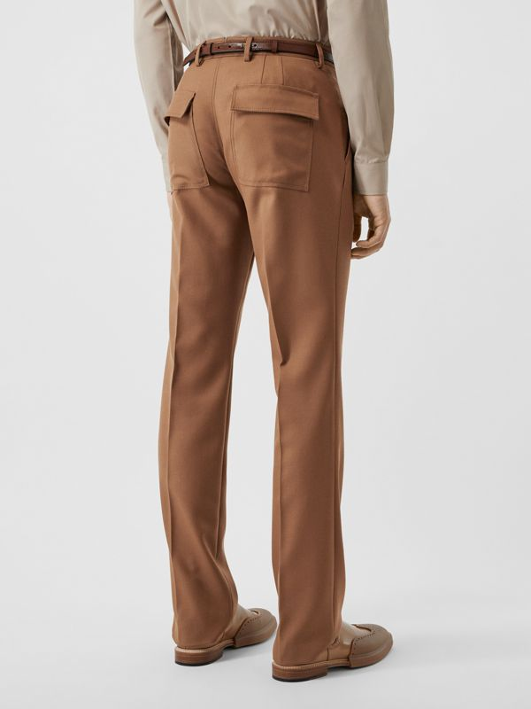 Zip Detail Wool Twill Pleated Trousers in Dark Walnut - Men | Burberry - cell image 2