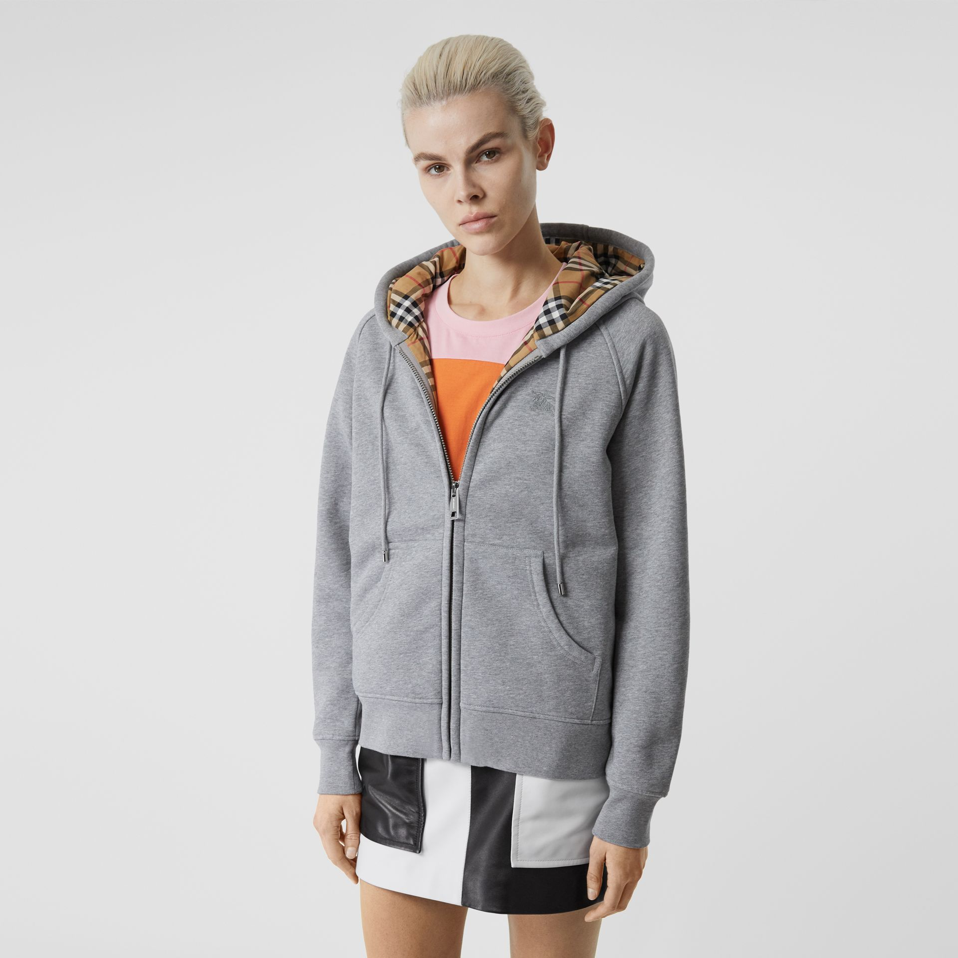 Vintage Check Detail Jersey Hooded Top in Pale Grey Melange - Women | Burberry - gallery image 4