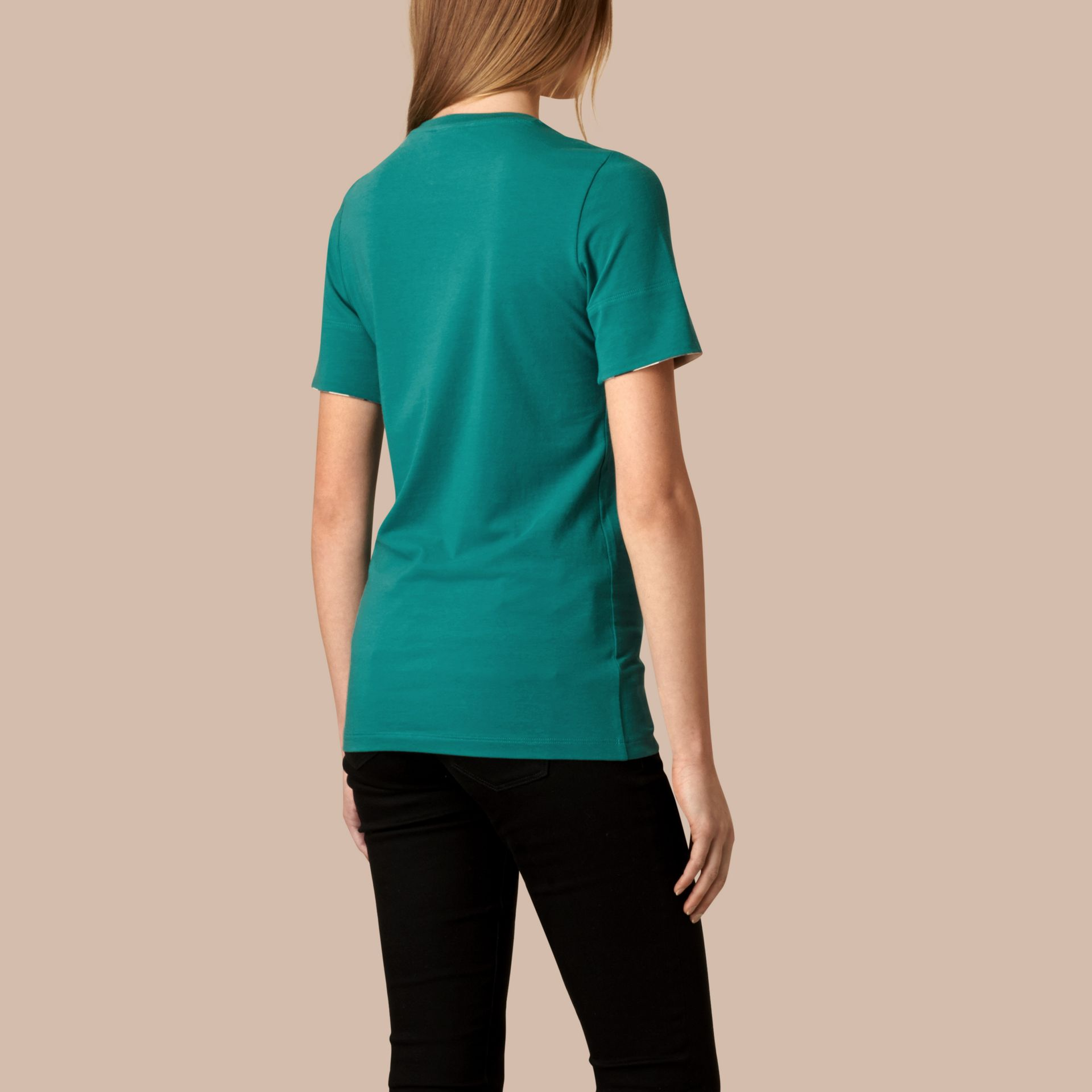 Aqua green Check Cuff Stretch Cotton T-Shirt Aqua Green - gallery image 2