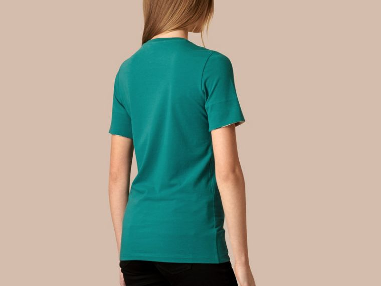 Aqua green Check Cuff Stretch Cotton T-Shirt Aqua Green - cell image 1