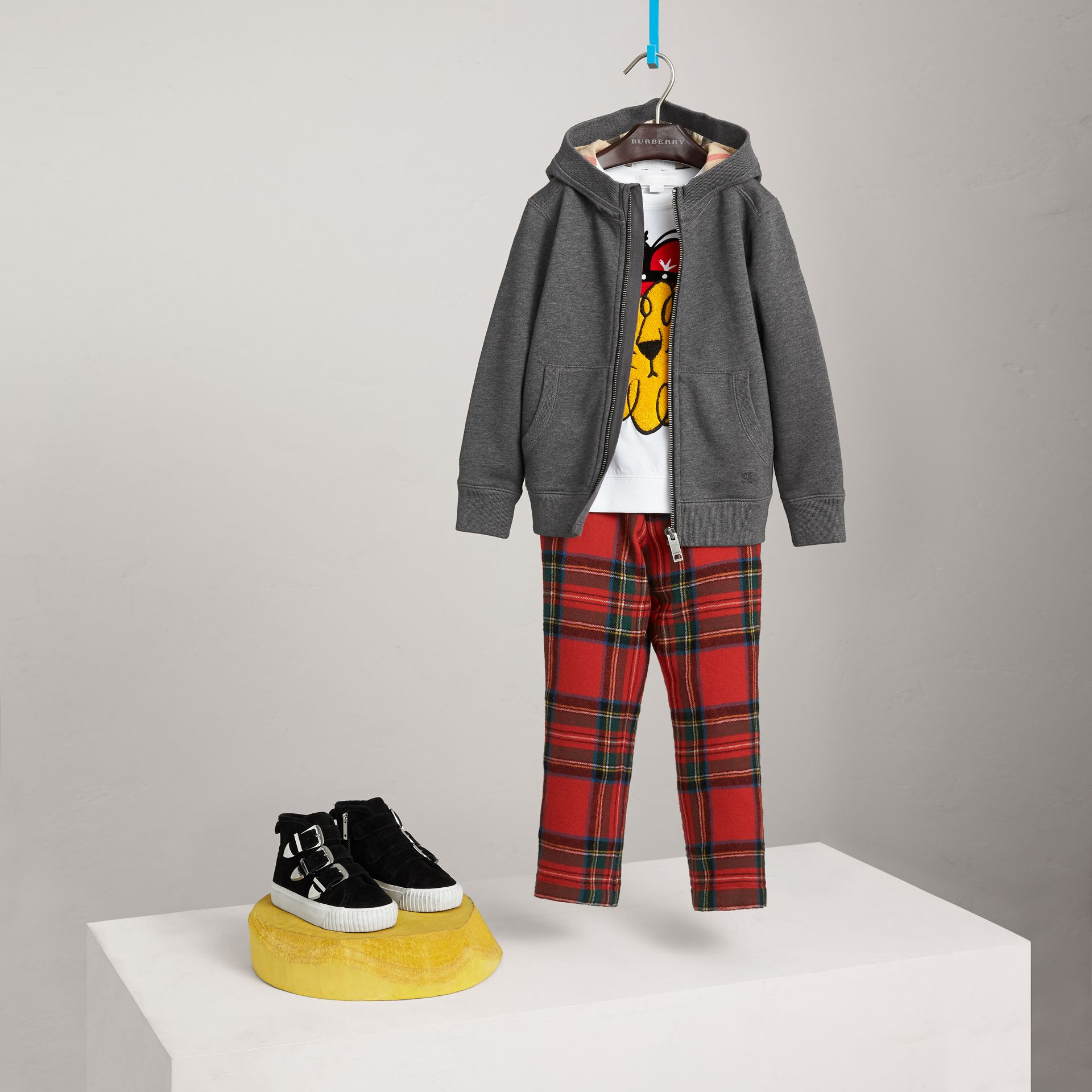 Hooded Cotton Top in Charcoal Melange - Boy | Burberry - gallery image 0