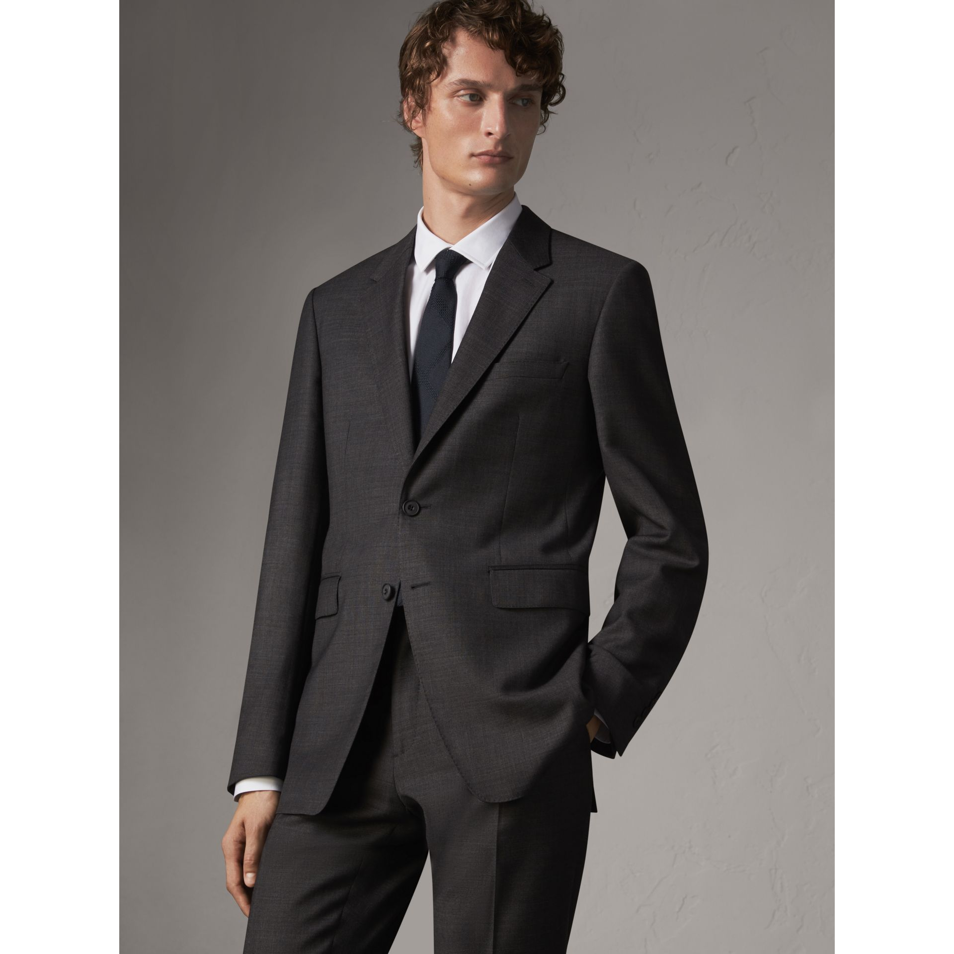 Modern Fit Travel Tailoring Virgin Wool Suit in Dark Grey Melange - Men | Burberry - gallery image 7