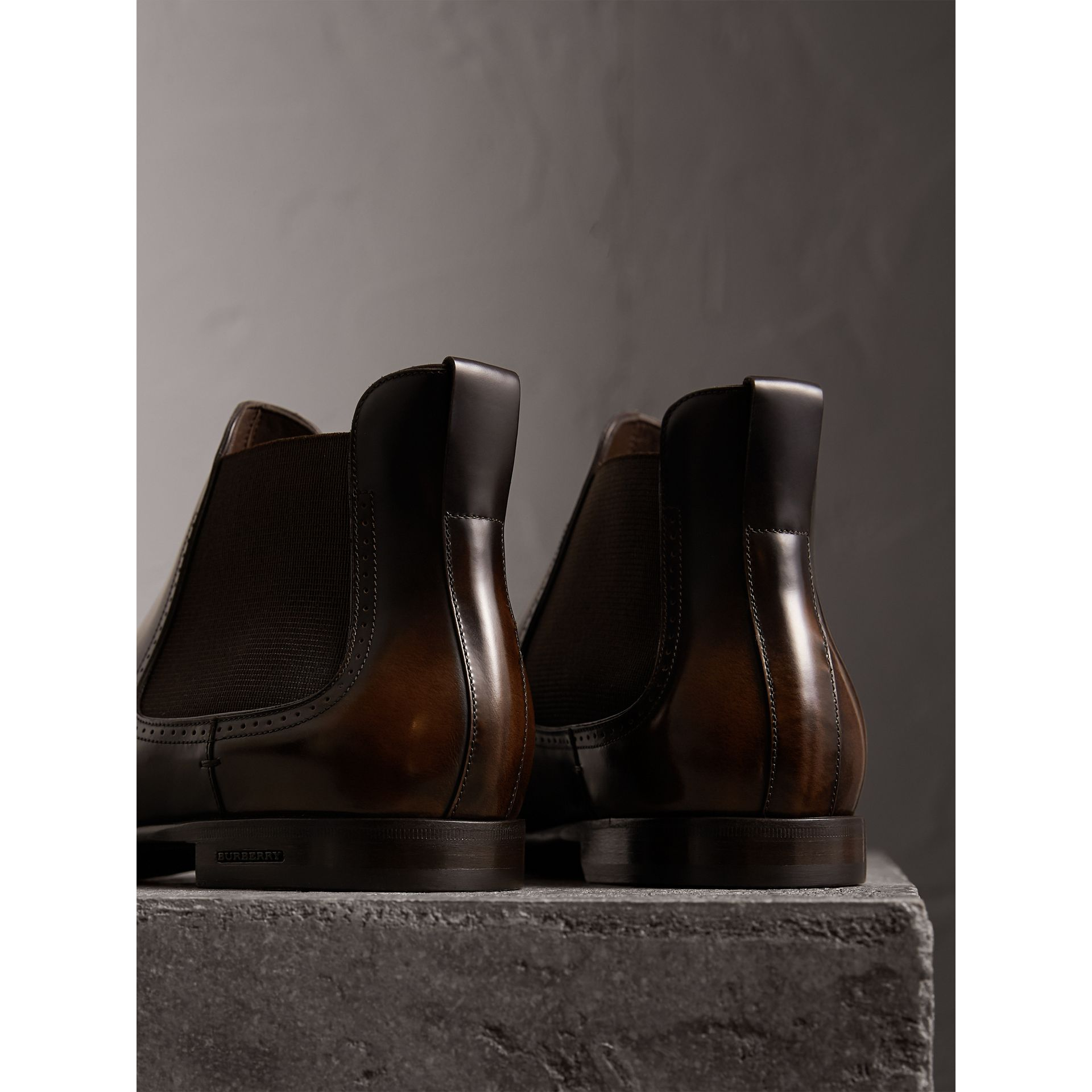 Perforated Detail Leather Chelsea Boots in Chocolate Brown - Men | Burberry - gallery image 3