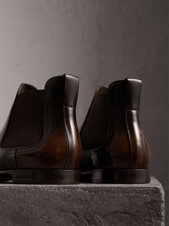 Perforated Detail Leather Chelsea Boots in Chocolate Brown - Men | Burberry Hong Kong - cell image 2