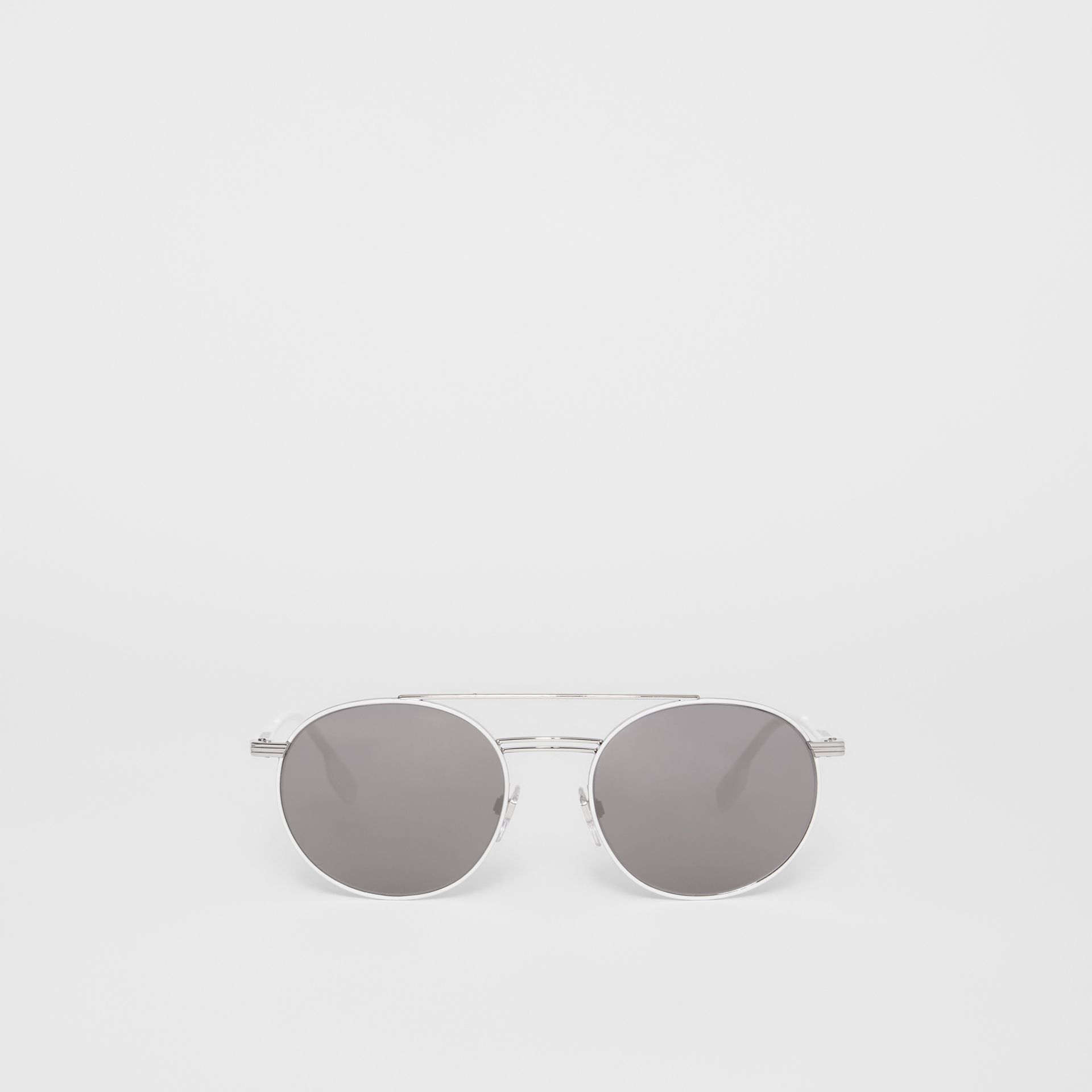 Top Bar Detail Round Frame Sunglasses in Silver - Men | Burberry - gallery image 0