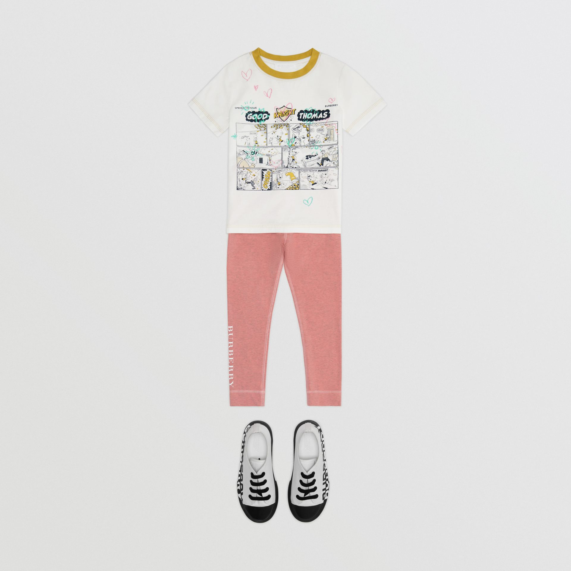Comic Strip Print Cotton T-shirt in Light Stone - Girl | Burberry - gallery image 2