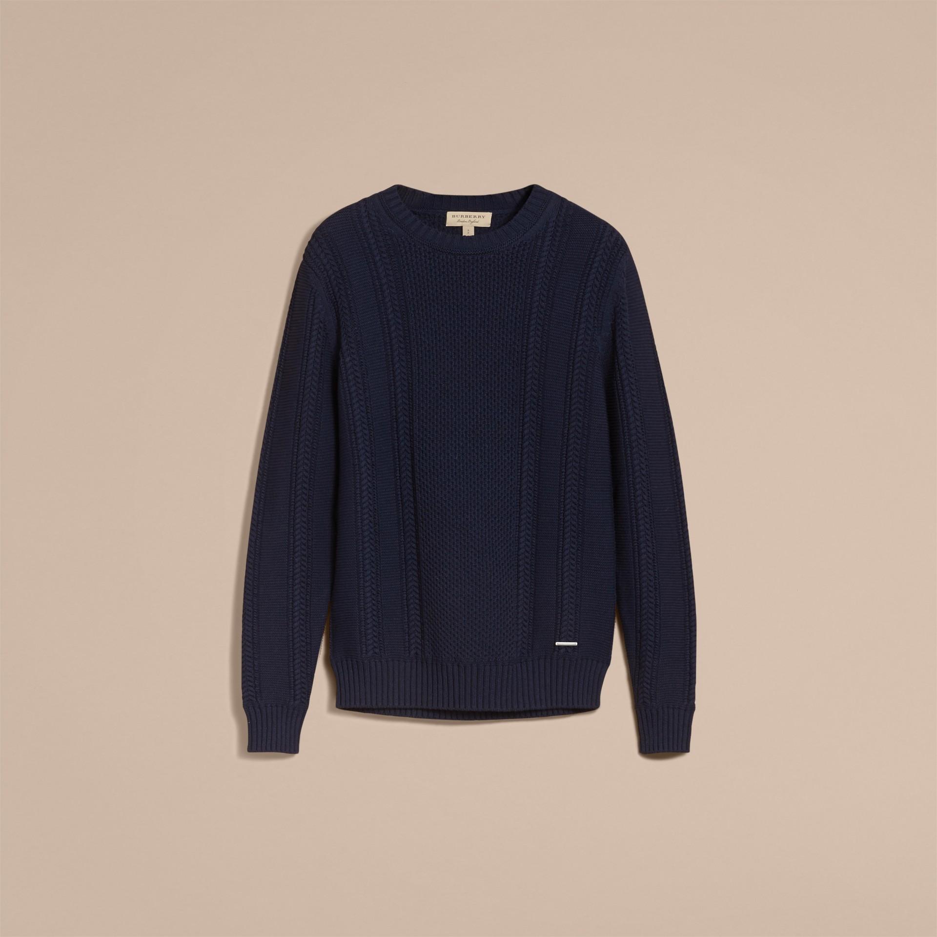 Zip Detail Aran Knit Cotton Sweater - gallery image 4