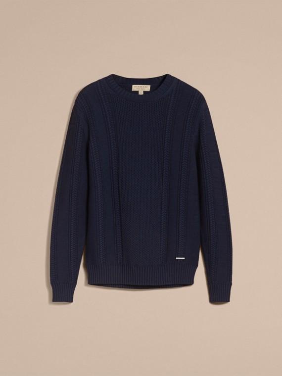 Zip Detail Aran Knit Cotton Sweater - cell image 3