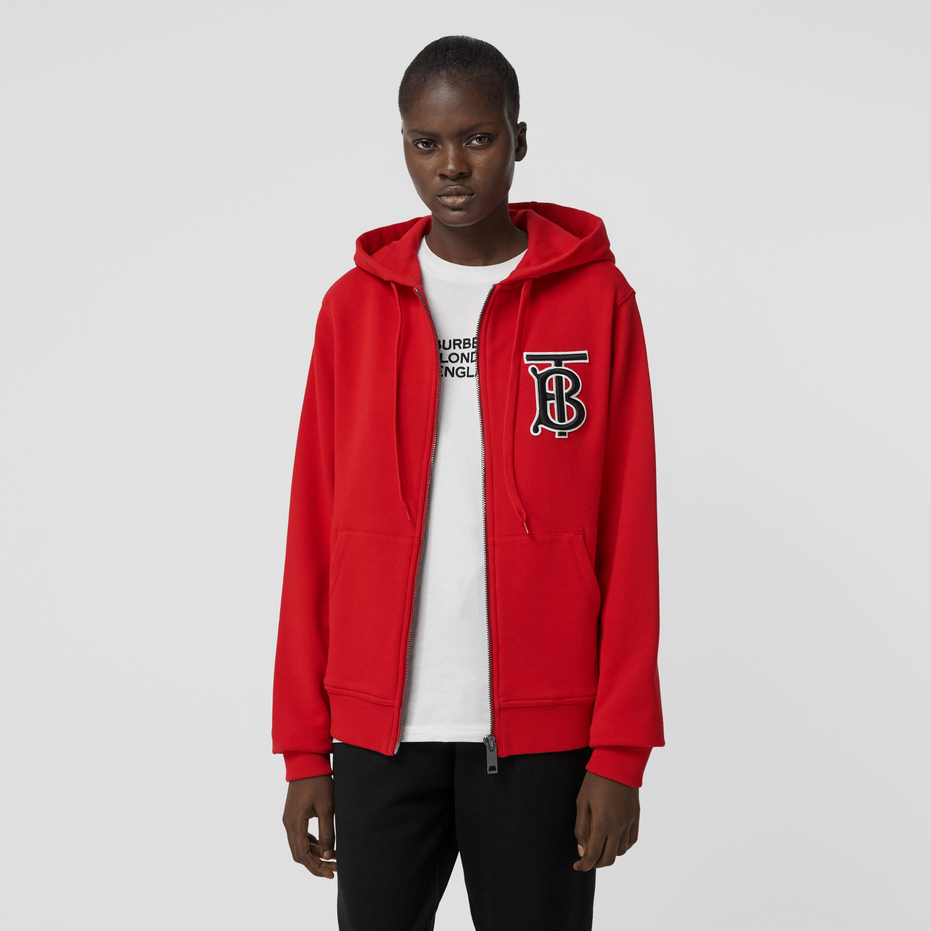 Monogram Motif Cotton Oversized Hooded Top in Bright Red - Women | Burberry - gallery image 4