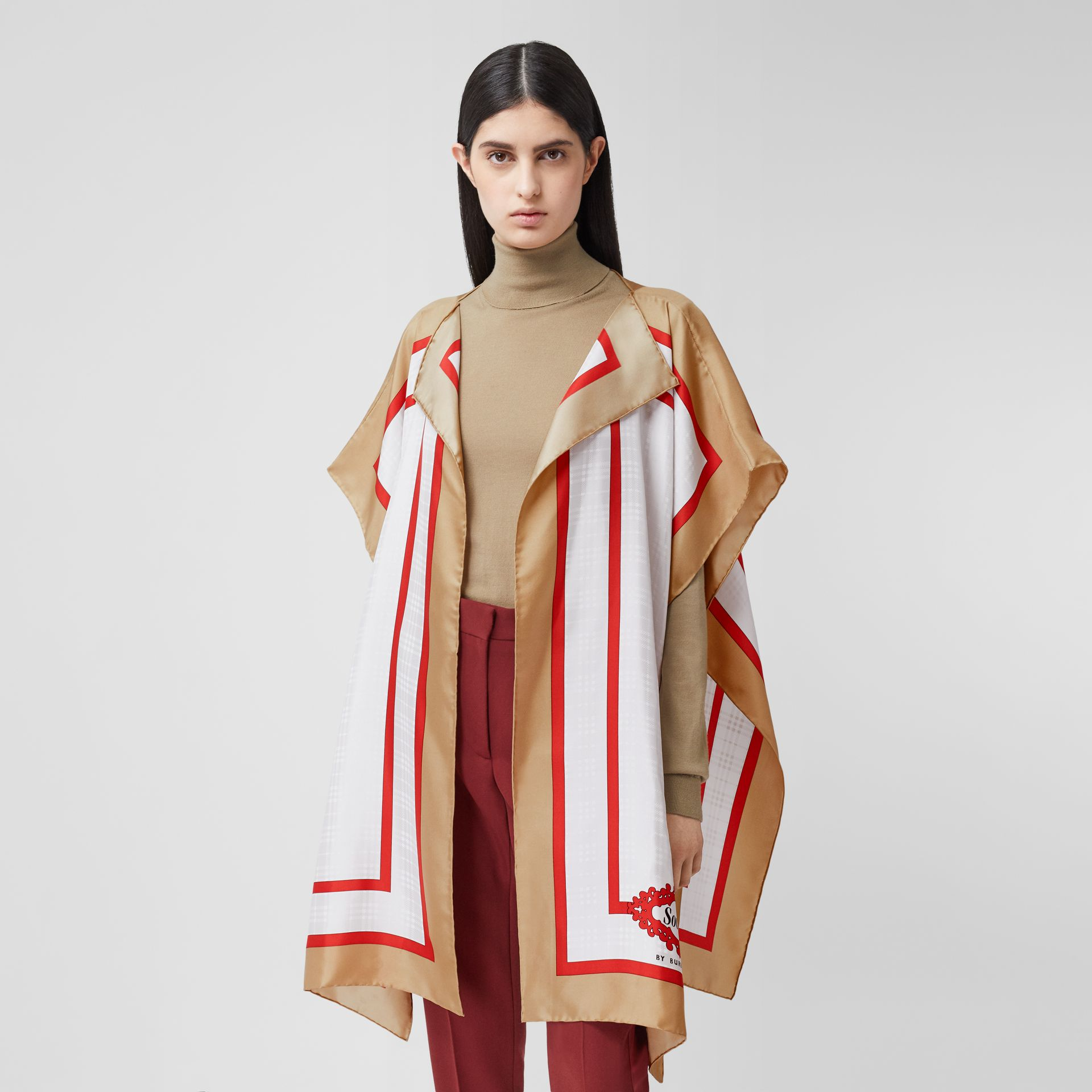 Archive Scarf Print Silk Twill Cape in Honey - Women | Burberry United Kingdom - gallery image 5