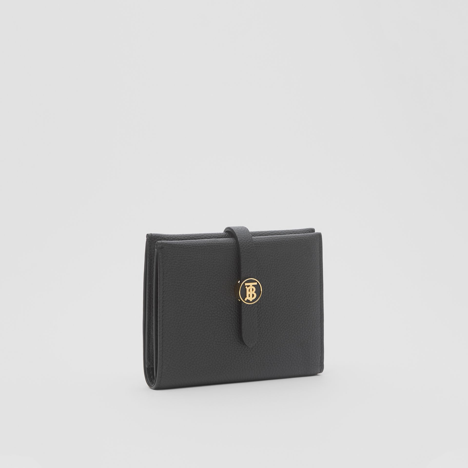Monogram Motif Grainy Leather Folding Wallet in Black - Women | Burberry United Kingdom - gallery image 3