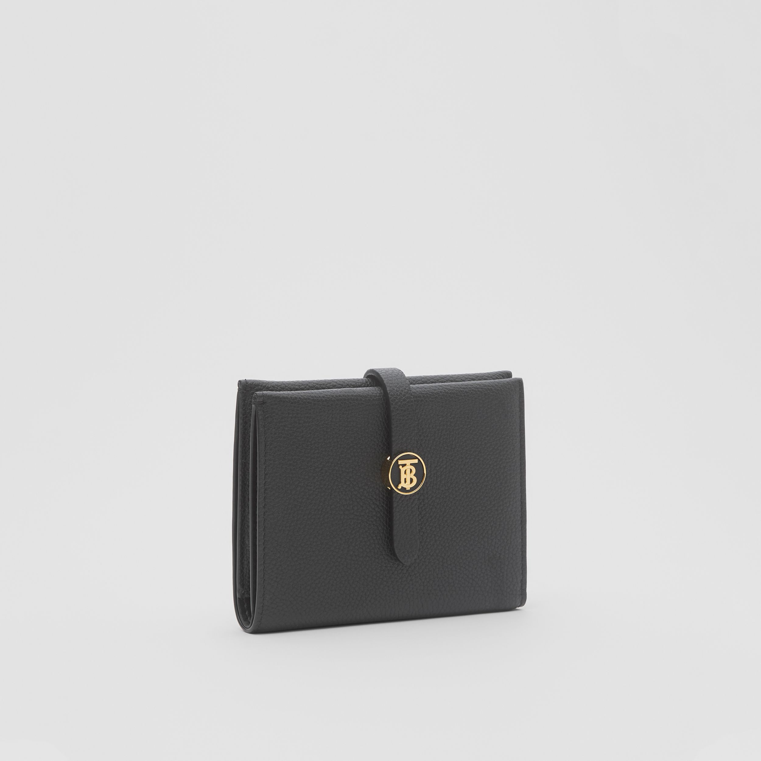 Monogram Motif Grainy Leather Folding Wallet in Black - Women | Burberry Hong Kong S.A.R. - 4