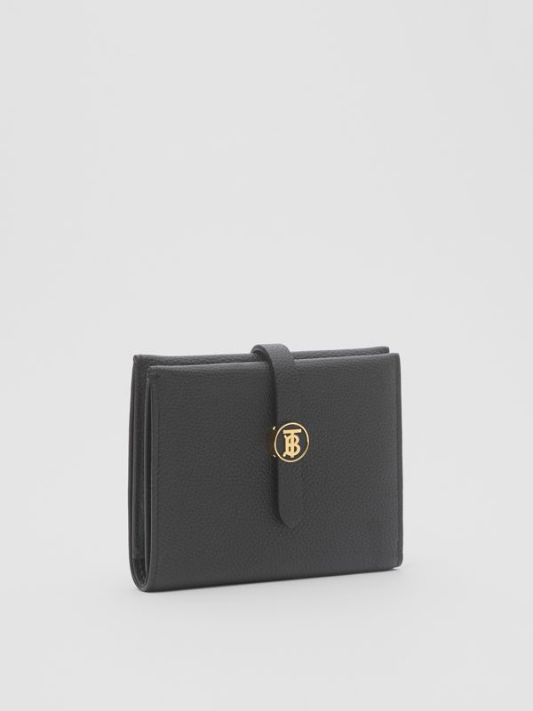 Monogram Motif Grainy Leather Folding Wallet in Black - Women | Burberry United Kingdom - cell image 3