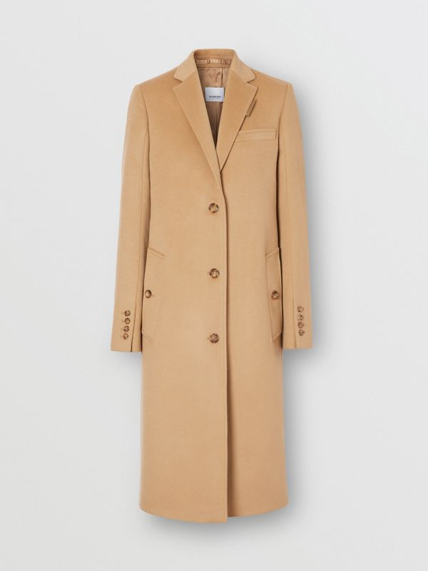 Wool Cashmere Tailored Coat in Light Camel - Women | Burberry United Kingdom - cell image 3