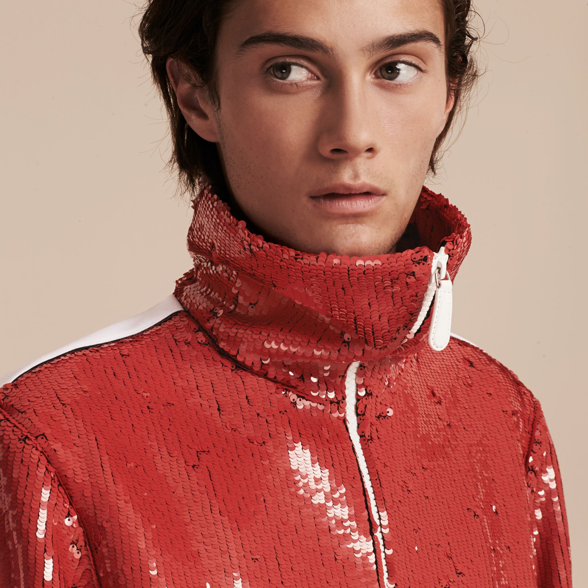 Cranberry red Sequin Track Jacket - gallery image 5