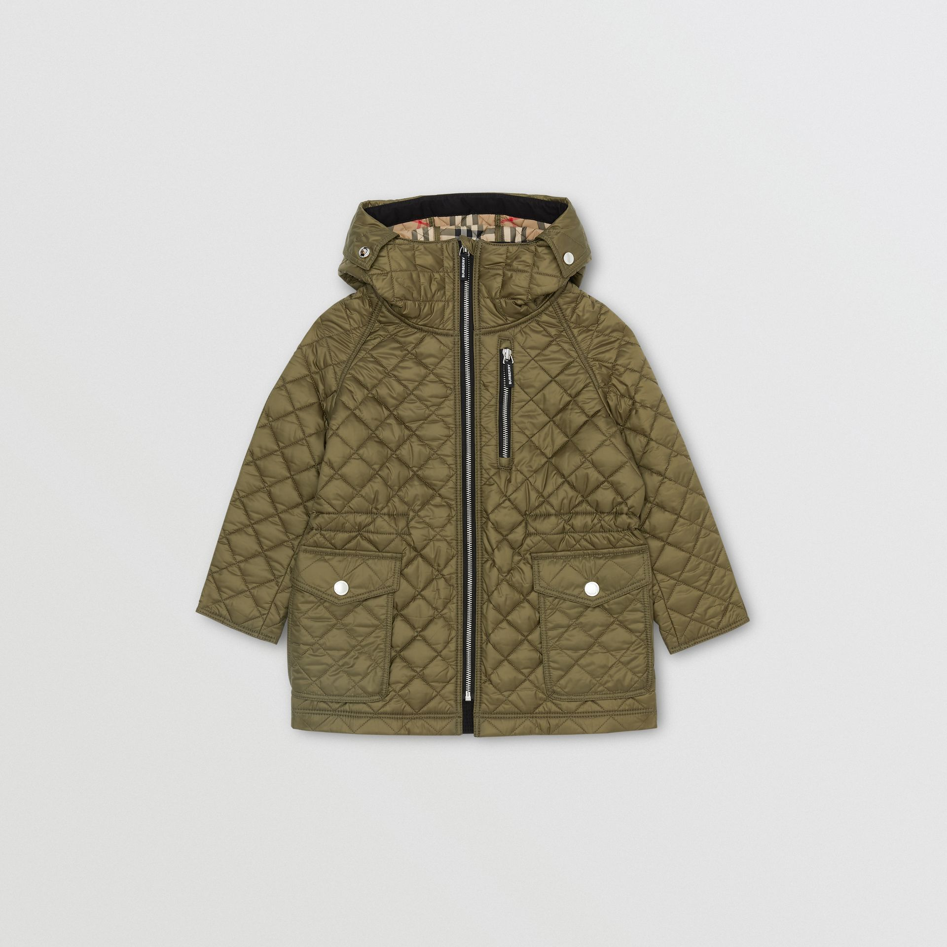 Diamond Quilted Hooded Coat in Military Olive | Burberry Australia - gallery image 0